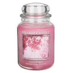 Village Candle Cherry Blossom Premium Fragranced Candle. Delicate floral blossom fragrance with a hint of Summer!