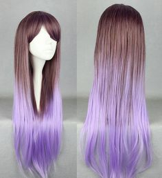 Long Brown and Purple Ombre Wig, Cosplay Wig, Anime Wig, Straight Gradient Wig for Anime Conventions on Etsy, $35.99