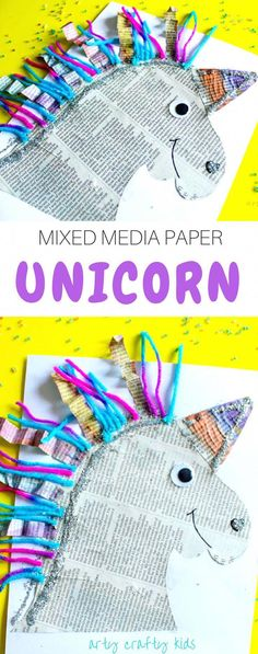 Arty Crafty Kids Art Mixed Media Paper Unicorn Craft A fun mixed media paper unicorn project for kids! Easy Art Projects, Projects For Kids, Diy For Kids, Art School For Kids, School Fun, Food Art For Kids, Diy Unicorn, Unicorn Crafts, Magical Unicorn