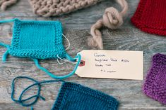 keep track of your gauge swatch, great advice for a beginning knitter