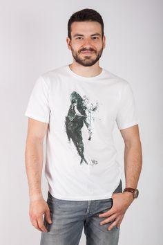 3aa28bfe928e Tee shirt homme bio col rond Ky-Kas peint par l artiste Jean Pierre