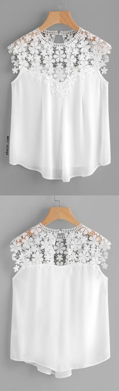 Shop Keyhole Back Daisy Lace Shoulder Shell Top online. SHEIN offers Keyhole Back Daisy Lace Shoulder Shell Top & more to fit your fashionable needs. Mode Plus, Shell Tops, Diy Clothing, Look Chic, Lace Tops, Blouse Designs, African Fashion, Spring Outfits, Ideias Fashion