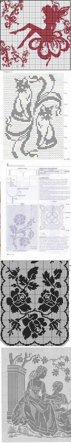 Схемы филейного вязания крючком.