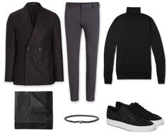 black and grey smart casual look: - double breasted blazer, windsor - grey jersey trousers, windsor - black rollneck, John Smedley - pocket square, Lanvin - bracelets, Luis Morias - sneakers, Common Project