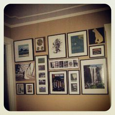 Wall collage of photos - planning on painting frames (dark brown, medium brown and gold)