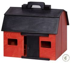 Crafted in a classic fashion by expert Amish woodworkers, your Wooden Folding Barn with Animal Toys features an easy to carry handle and safe wood finish.