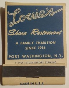 Seafood specialties. Front strike matchbook. Louie's Shore Restaurant. Port Washington, Long Island, NY. Full intact unstruck unused. Steaks, prime ribs, sauerbraten, duckling. | eBay!