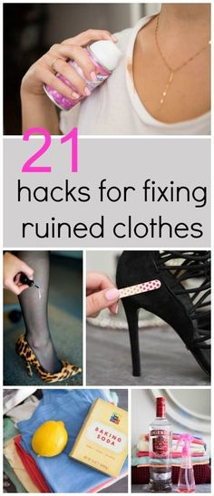 21 amazingly clever hacks for fixing ruined clothes! http://www.cosmopolitan.co.uk/fashion/advice/a31546/21-genius-hacks-for-fixing-ruined-clothes/