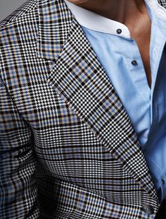 Plaid cool and collarless.