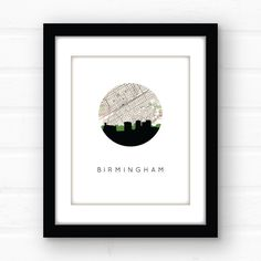 Birmingham Alabama art | Birmingham skyline print | Birmingham map print | Birmingham print | Alabama home decor | Alabama print | southern by PaperFinchDesign on Etsy https://www.etsy.com/listing/167964338/birmingham-alabama-art-birmingham