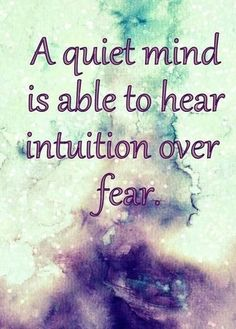 ▪a quiet mind is able to hear intuition over fear ▪