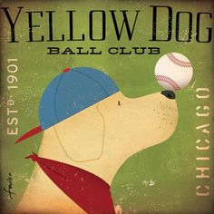 Yellow Dog Labrador Baseball Club Chicago original graphic art on canvas 12 x 12 x 1.5 gemini studio