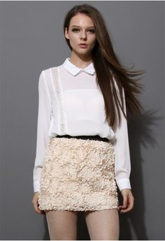 Sequins Chiffon Shirt with Lace Tirm