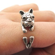 Realistic Puppy Dog Shaped Animal Wrap Ring in Silver | US Size 6 to 9
