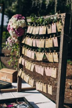photo: Richard Bell Photography; wedding place card display idea;