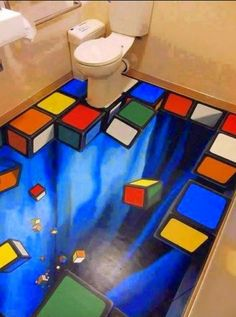 I think this is a really cool design because I love floor art and optical illusions, so it is really visually appealing to me! 3d Street Art, Street Artists, Illusion Kunst, Illusion Art, 3d Flooring, Bathroom Flooring, Bathroom Art, Funny Bathroom, Flooring Ideas