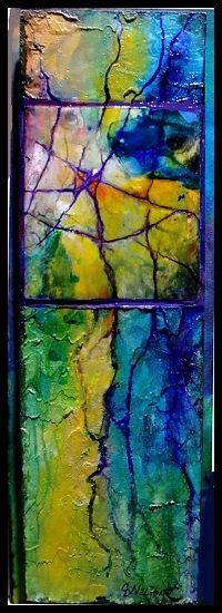 All That Jazz, 12009 by Carol Nelson mixed media ~ 12 x 4