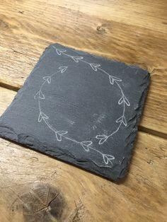 1532603cd Engraved slate coasters personalised by RockeryCottage Tabla De Pizarra  Para Queso, Queso Tableros, Posavasos