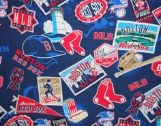 Fun vintage Hawaiian style shirt cut up into  workable pieces for crafting.   Red Sox Fabric http://www.etsy.com/listing/129999608/boston-red-sox-lobster-rayon-fabric?