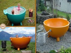 Smart and easy idea for a heated tub.