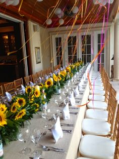 Elegant Mexican themed party on the patio. Overflowing sunflower centerpieces and balloons tied with brightly colored ribbon- partyful.co