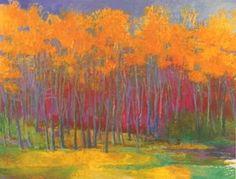 Wolf Kahn's tree landscape pastel
