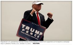 19 Oct. 2016: Donald Trump angrily denies flood of sexual assault accusations / Republican U.S. presidential nominee Donald Trump reacts to cheers from supporters as he departs a campaign rally in Lakeland, Florida, U.S., October 12, 2016.  REUTERS