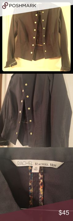 Rachel Roy Military Jacket with Leather Detail Rachel Roy Military Jacket with Leather Detail - size 10. Great condition! Rachel Roy Jackets & Coats Utility Jackets