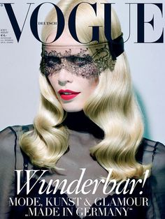 Claudia Schiffer for Vogue German, July photo by Miles Aldridge. Probably one of the best Vogue covers ever.that lace mask. is to die for! Vogue Covers, Vogue Magazine Covers, Fashion Magazine Cover, Fashion Cover, Fashion Art, Editorial Fashion, Fashion History, Modern Fashion, Girl Fashion
