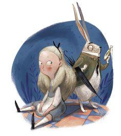 art, spot illustration, animal, white rabbit, figure, child, girl, 3/4 view, sitting, alice in wonderland. //  Julia Sarda