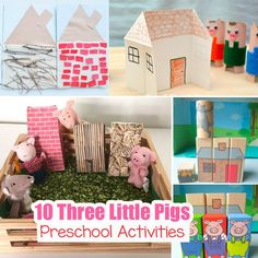 3 little pigs house template preschool craft activity brings the Three Little Pigs kids story to life. Preschoolers will love sequencing this story. 3 Little Pigs Activities, Preschool Craft Activities, Stem Preschool, Sequencing Activities, Three Little Pigs Houses, Three Little Pigs Story, Pig Crafts, Animal Crafts, Pig Art