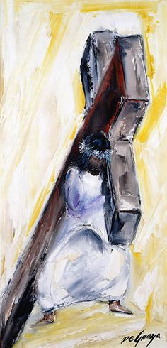 """While living in Italy as a small child DeGrazia was exposed to the art of the Catholic Church. Although he never formally participated in church life, this particular series of paintings reflect a deep reverence for all things religious. Instead of the traditional 14 Stations of the Cross, DeGrazia's collection culminates with the resurrection. """"I never thought the cycle would be completed unless we had the 15th station where Jesus arises in glory."""" Station II Jesus takes up His cross."""