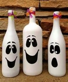 Painted White Wine bottles for Halloween
