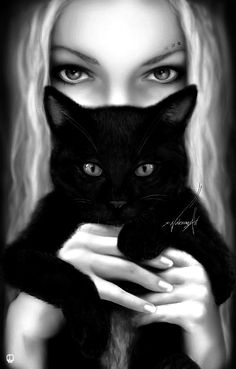 Love the contrast of the fair blonde with the black cat. Their eyes are… Fantasy Kunst, Fantasy Art, Crazy Cat Lady, Crazy Cats, I Love Cats, Cute Cats, Black Cat Art, Black Cats, Here Kitty Kitty