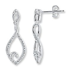 Distinctly dashing and classically chic, these teardrop earrings are styled in sterling silver. Diamonds totaling carat in weight accent the earrings, which fasten with friction backs. Diamond Total Carat Weight may range from - carats. Wedding Jewellery Inspiration, Wedding Jewelry, Diamond Studs, Diamond Jewelry, Silver Diamonds, Modern Jewelry, Metal Jewelry, Rose Gold Earrings, Diamond Earrings