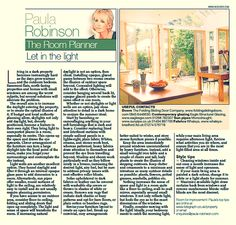The Room Planner, Paula Robinson Rossouw's column in the Sunday Telegraph: Let in the light www.paularobinsonrossouw.com