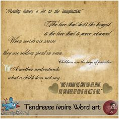 Tendresse ivoire word art by Scrap'Angie