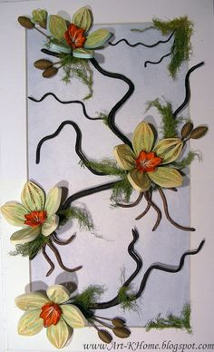 Quilled flowering tree branch
