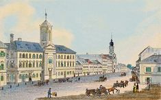 Špitálska - vraj 1885. Trochu farebne upravená pohľadnica