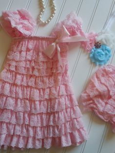 Baby Pink and White Lace Petti Dress with Lace by TheRuffledbum, $41.95