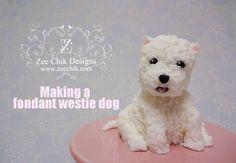 How to make a fondant / polymer clay Westie Dog