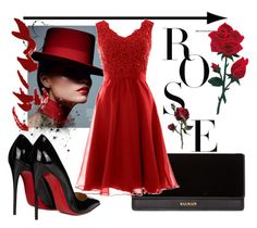 """""""😊"""" by triciapigeontonkins ❤ liked on Polyvore featuring Christian Louboutin and Balmain"""