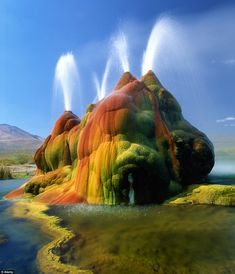 Multi-coloured: The rainbow effect is created by minerals in the water reacting with oxygen in the air