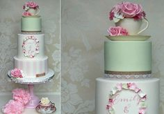 floral frame wedding cake by Jelly Cake