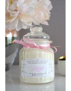 Bougie bonbonnière en cire de soja, parfumée Sucre rose.
