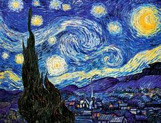 Iconic Van Gogh ~ 'Starry Night' (1889) depicts the view outside Van gogh's sanitorium room window at Saint-Rémy-de-Provence, at night. Made even more famous by singer, Don McLean's 1971 song, 'Vincent' (Starry, Starry Night). I've seen the original ~ these stars throb with energy!