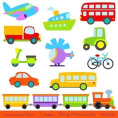 Transportation Clip Art Clipart with Car, Truck, Train, Tractor, Helicopter, Plane, Boat, Bus, Scooter - Commercial and Personal Use