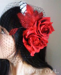 Red Rose Sexy Bridal hat Rockabilly bride wedding goth and black or red detachable with birdcage veil - ROSALINDA by VelvetOwl on Etsy https://www.etsy.com/listing/33068491/red-rose-sexy-bridal-hat-rockabilly