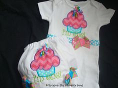 Items similar to BIRTHDAY Bodysuit and Bloomers Set-Cupcake Birthday-Smash Cake Set-Appliqued cupcake in hot pink,aqua, purple and green chevron and dots on Etsy 1st Birthday Outfits, Birthday Ideas, Birthday Parties, Green Chevron, Birthday Cupcakes, Cake Smash, Hot Pink, Aqua, Dots