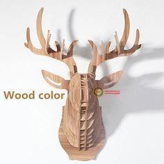 Deer head Wall Hanging Mount Wall Art Wooden Craft Wall Decor DIY Wood Carving